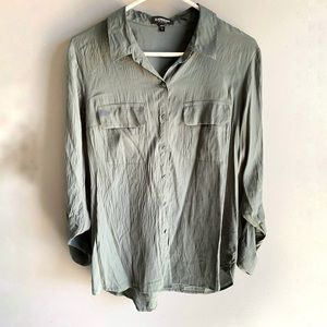 Express Hunter Green City Button Front Shirt